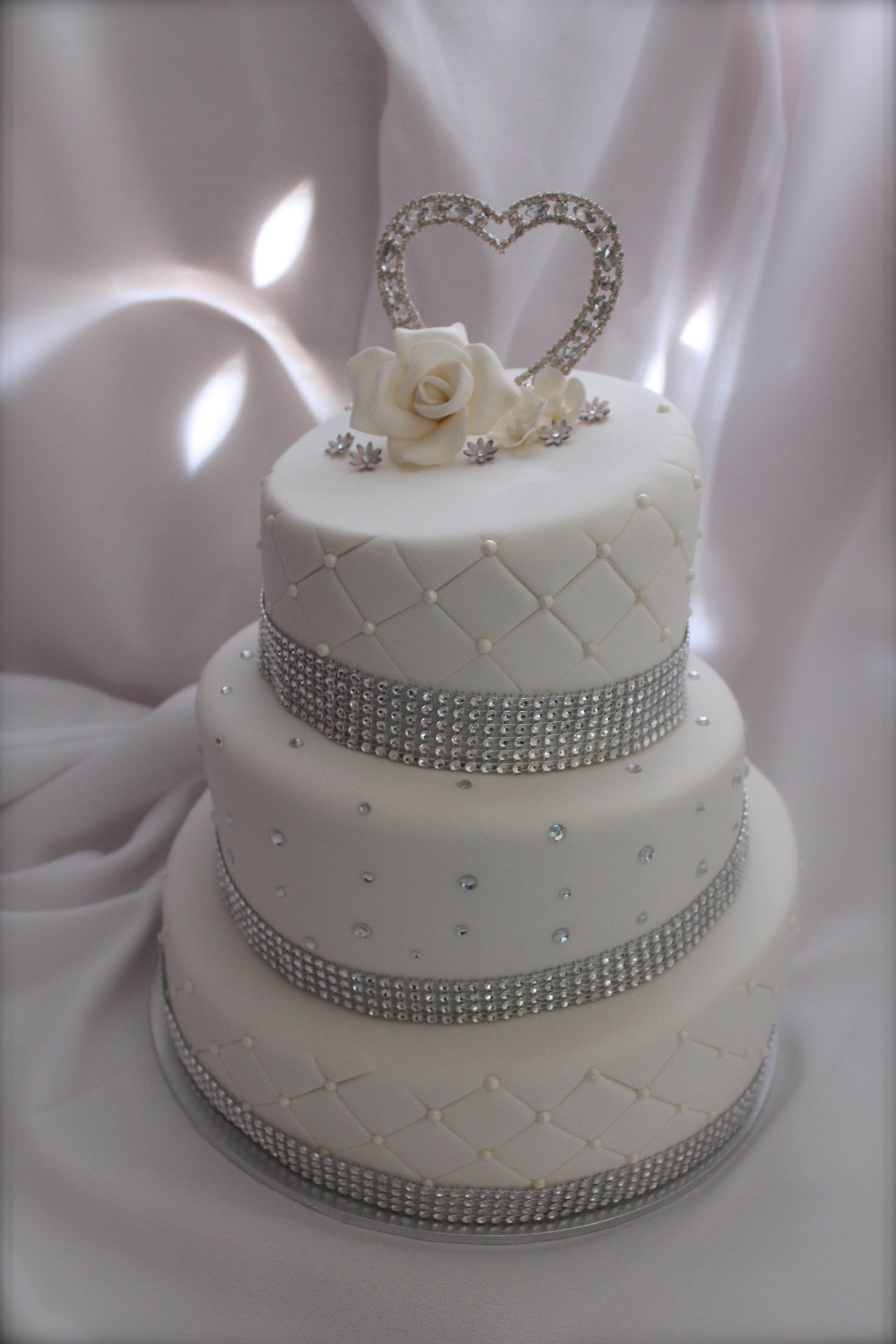 white and silver wedding cake My Cakes