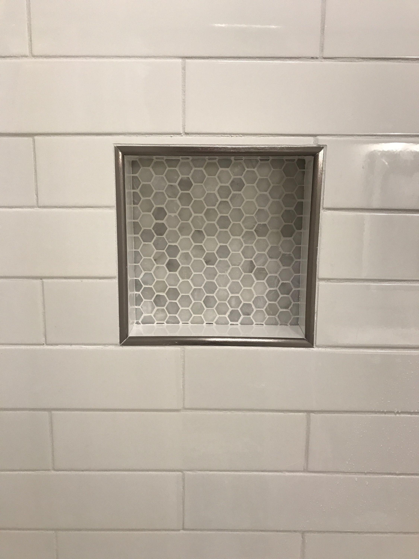 Shower Niche Subway Tiles And Carrara Marble Hexagons Upstairs Bathrooms Shower Niche Farmhouse Interior