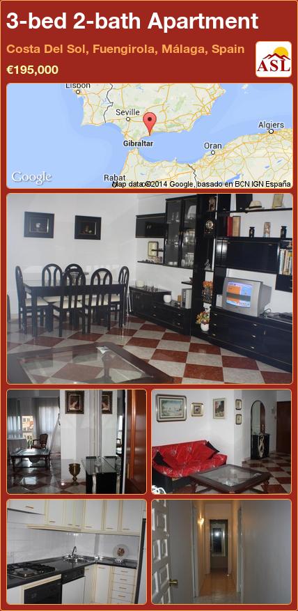 3-bed 2-bath Apartment in Costa Del Sol, Fuengirola, Málaga, Spain ►€195,000 #PropertyForSaleInSpain