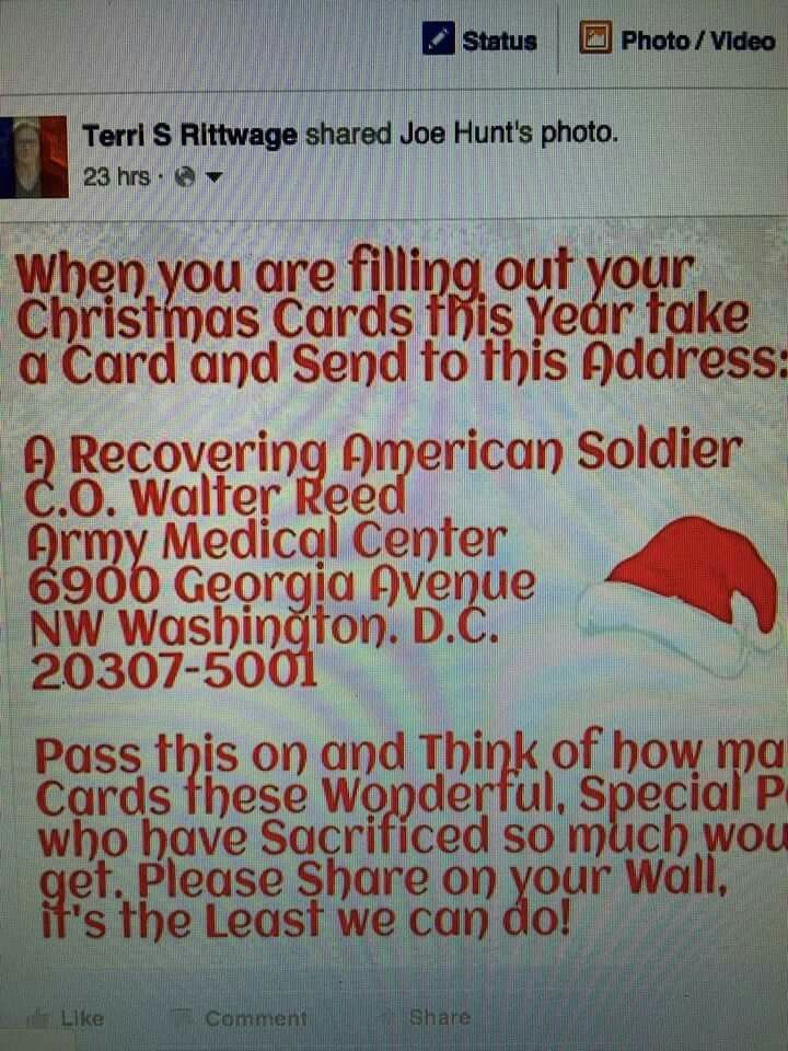 Christmas Card For Soldiers At Walter Reed - - nemetas.aufgegabelt.info