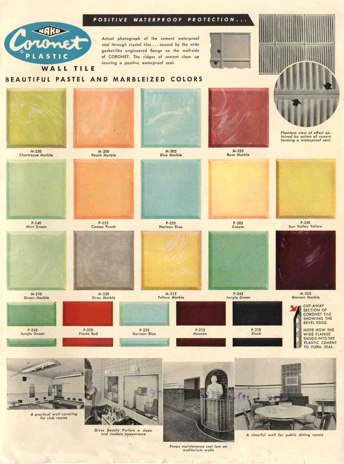 Delightful Plastic Bathroom Tile: 20 Pages Of Images From 3 Catalogs   Retro Renovation