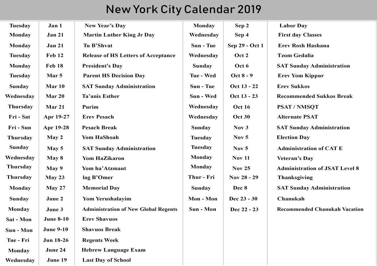 NYC School Holidays Calendar 2019 – 2020 | NYC School Calendar