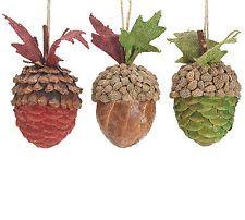 Acorn ornaments fall seasonal decorations set of 3