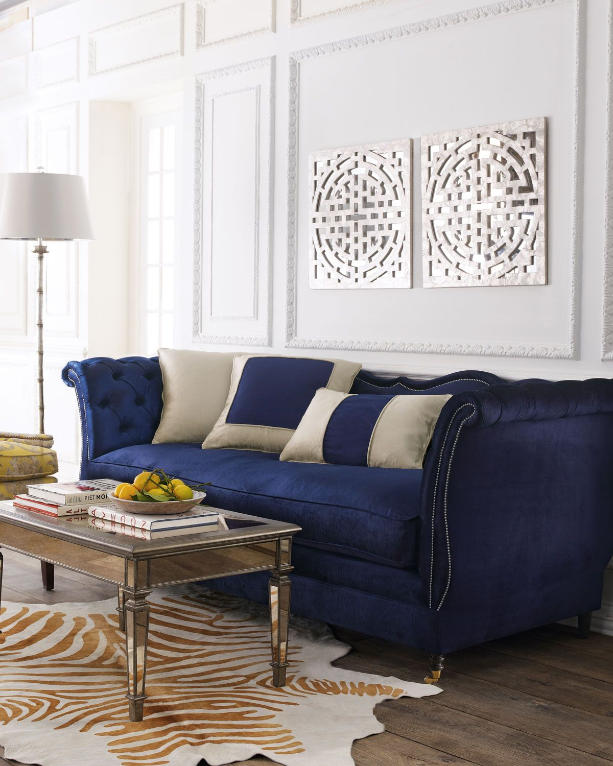 Haute House Horton Navy Velvet Tufted Sofa 90 Home Living Room