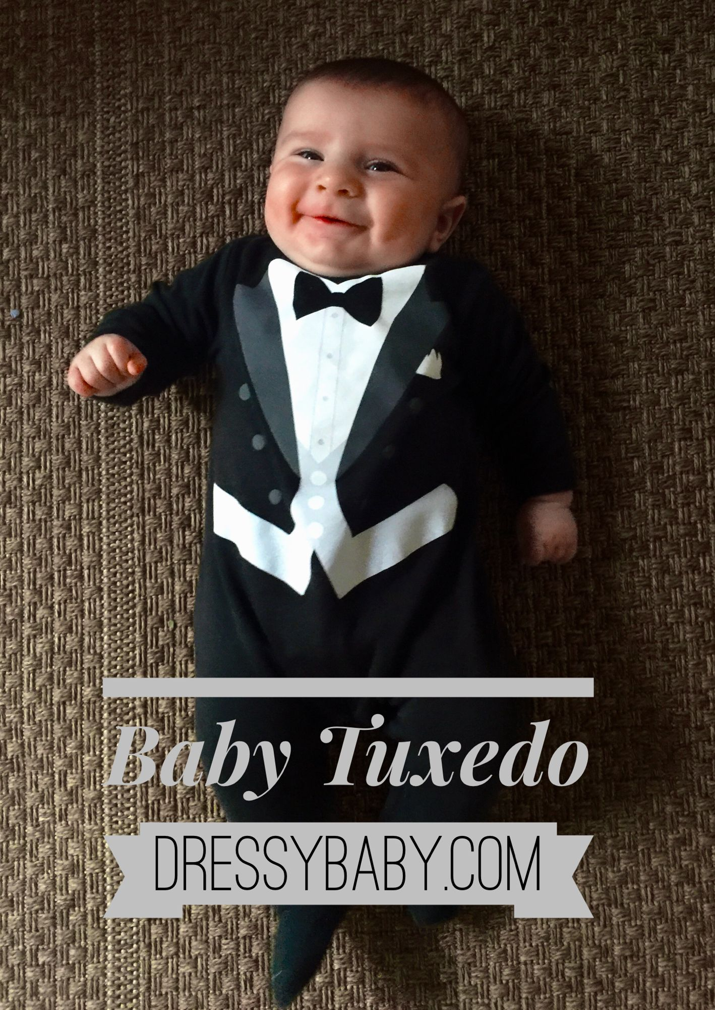 6546b70bcf23 Baby boy tuxedo pajama dress up outfit by DressyBaby.com perfect for ...