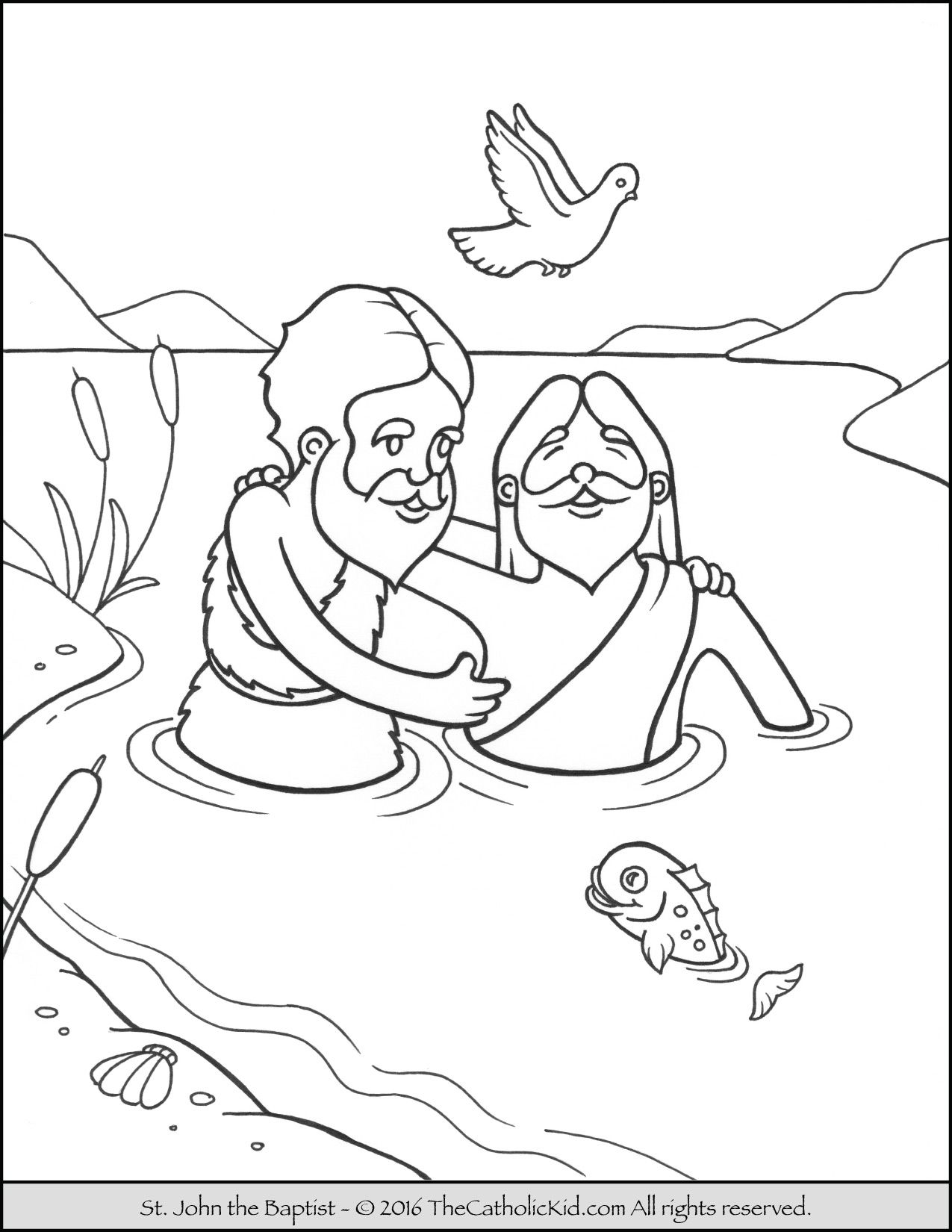 Saint John The Baptist Jordan River Coloring Page Cartoon Catholic