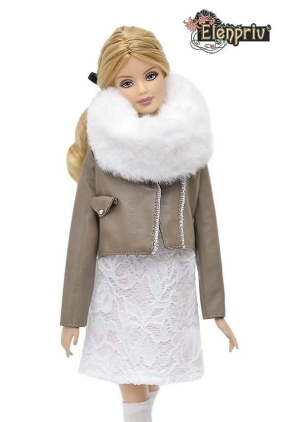 ELENPRIV FA outfit#21 white jacket+shorts+white top for Barbie Pivotal MTM dolls