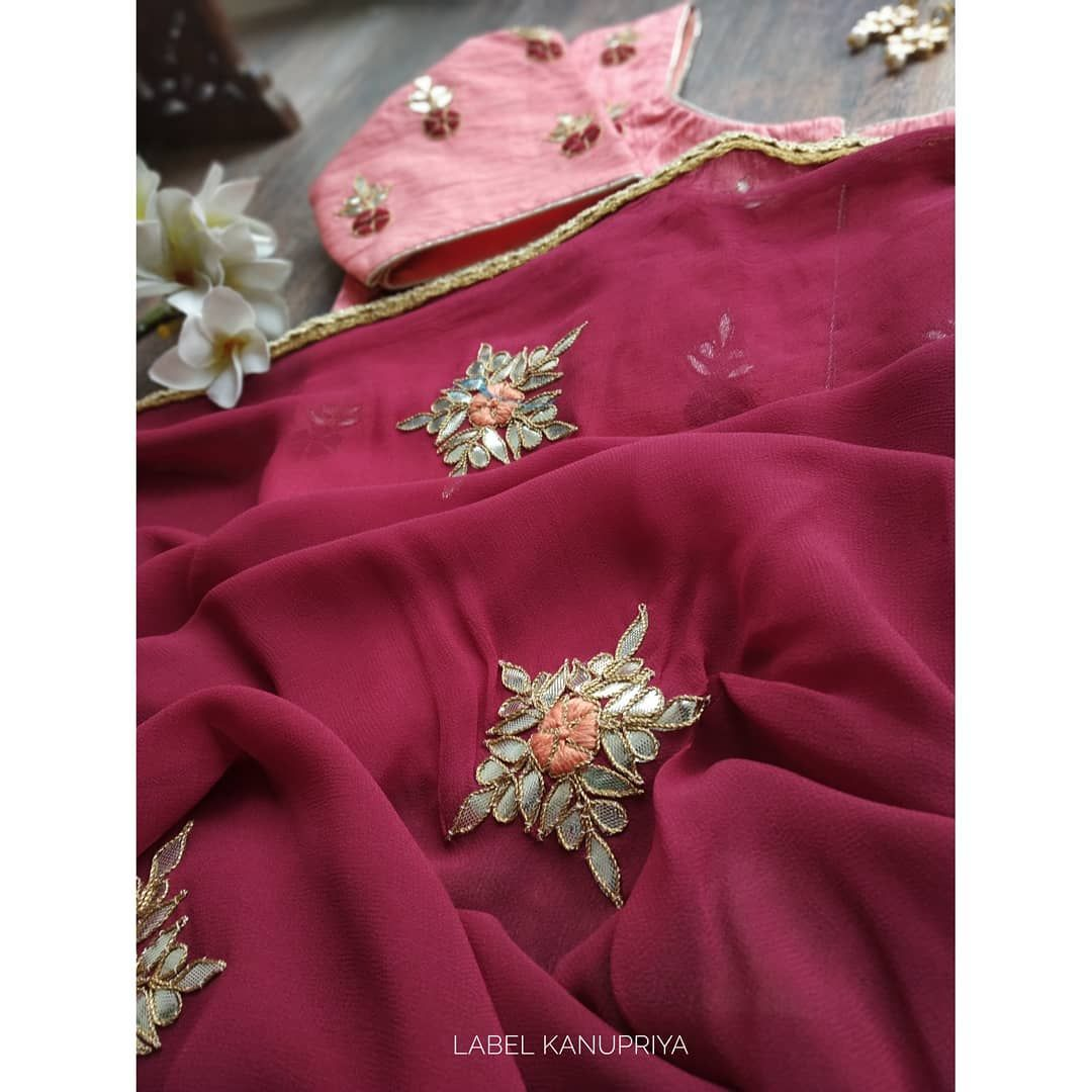 Sarees With Elegant Gota Patti Motifs And Stylish Blouses Are A Perfect Pick For The Festive Season Dm F Sari Design Stylish Blouse Hand Work Embroidery