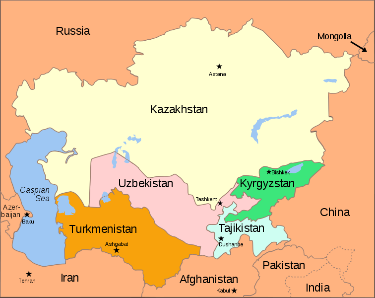 Map of Central Asia with surrounding countries in light orange ...