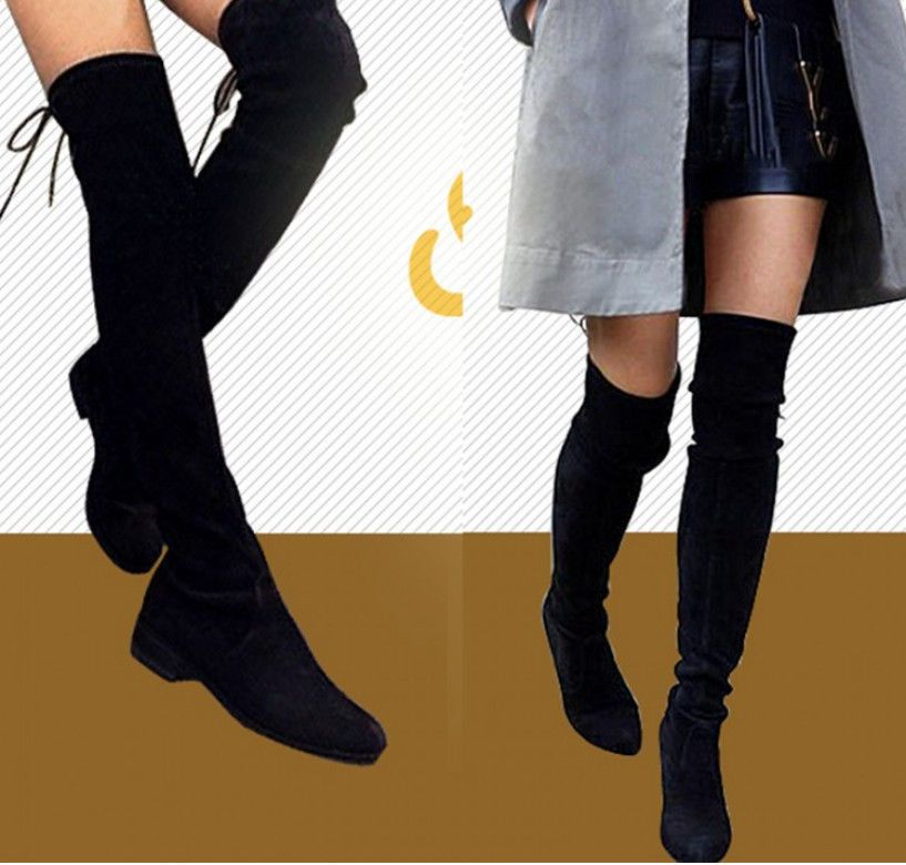 241ff2e62a58 Womens Tassel Over Knee Thigh High Knight Boots Round toe Flat Heel Shoes  Black  Madeinchina  Boots