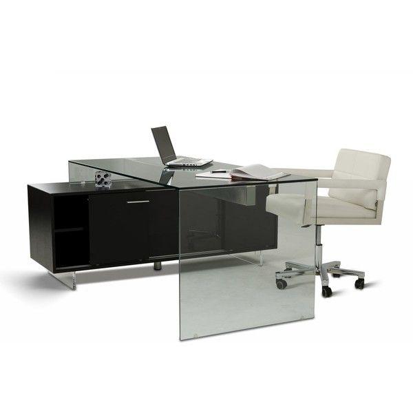 Alaska Black Oak Office Desk featuring polyvore home furniture desks ...