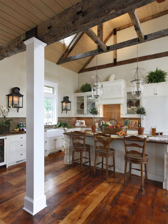 Like floor and wall lights traditional kitchen open for Wood beam ceiling kitchen