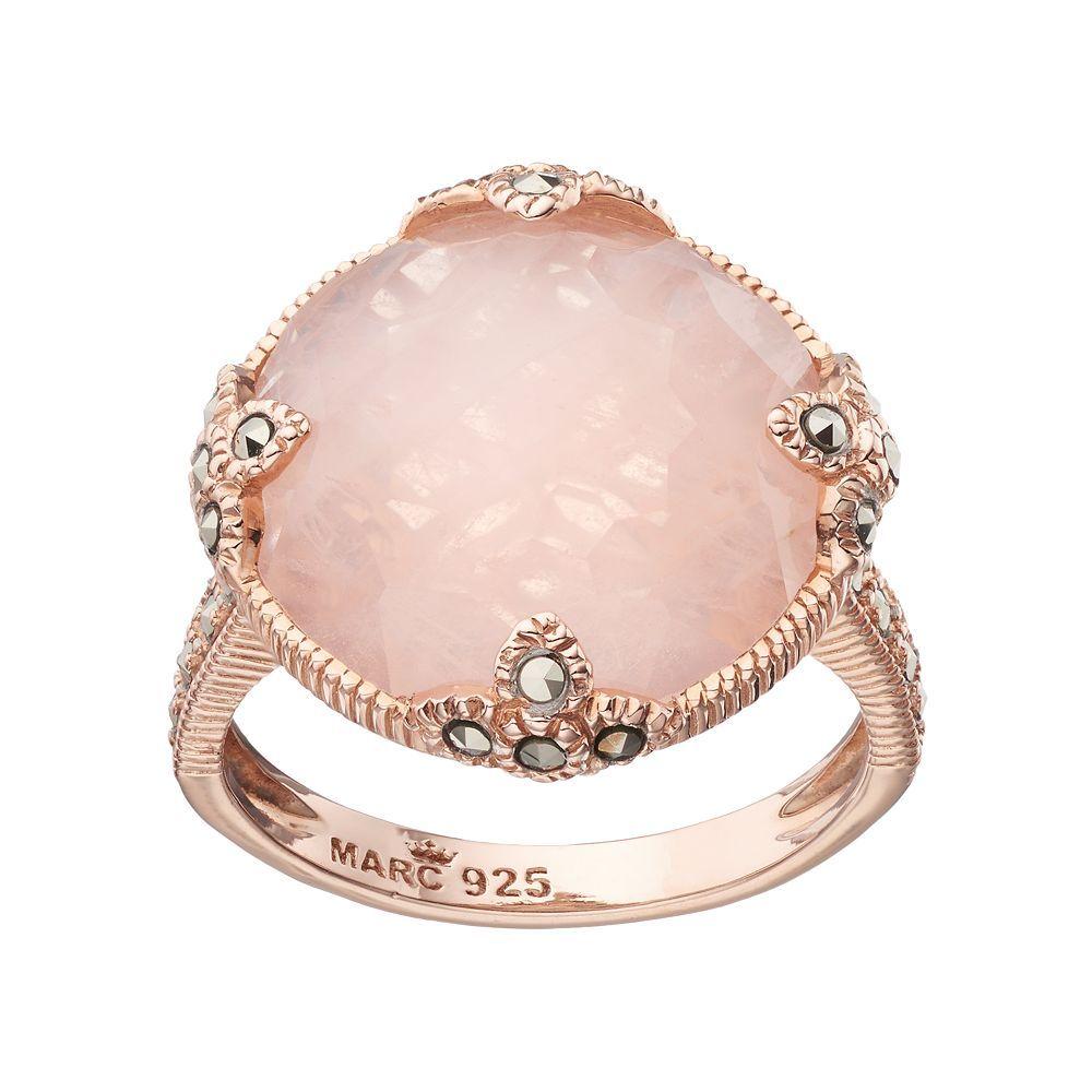 Lavish by TJM 18k Rose Gold Over Silver Rose Quartz & Marcasite ...
