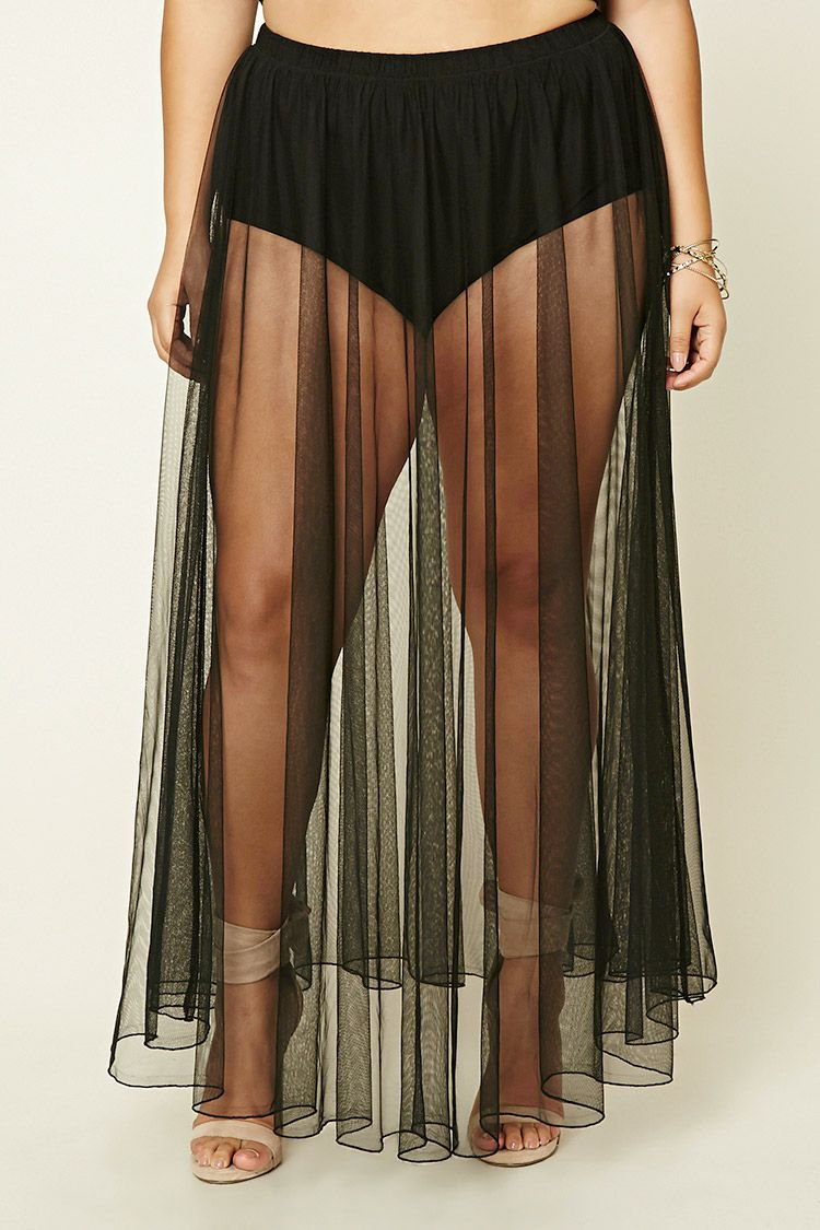 Forever 21+ - A sheer maxi skirt featuring a mesh fabric ...