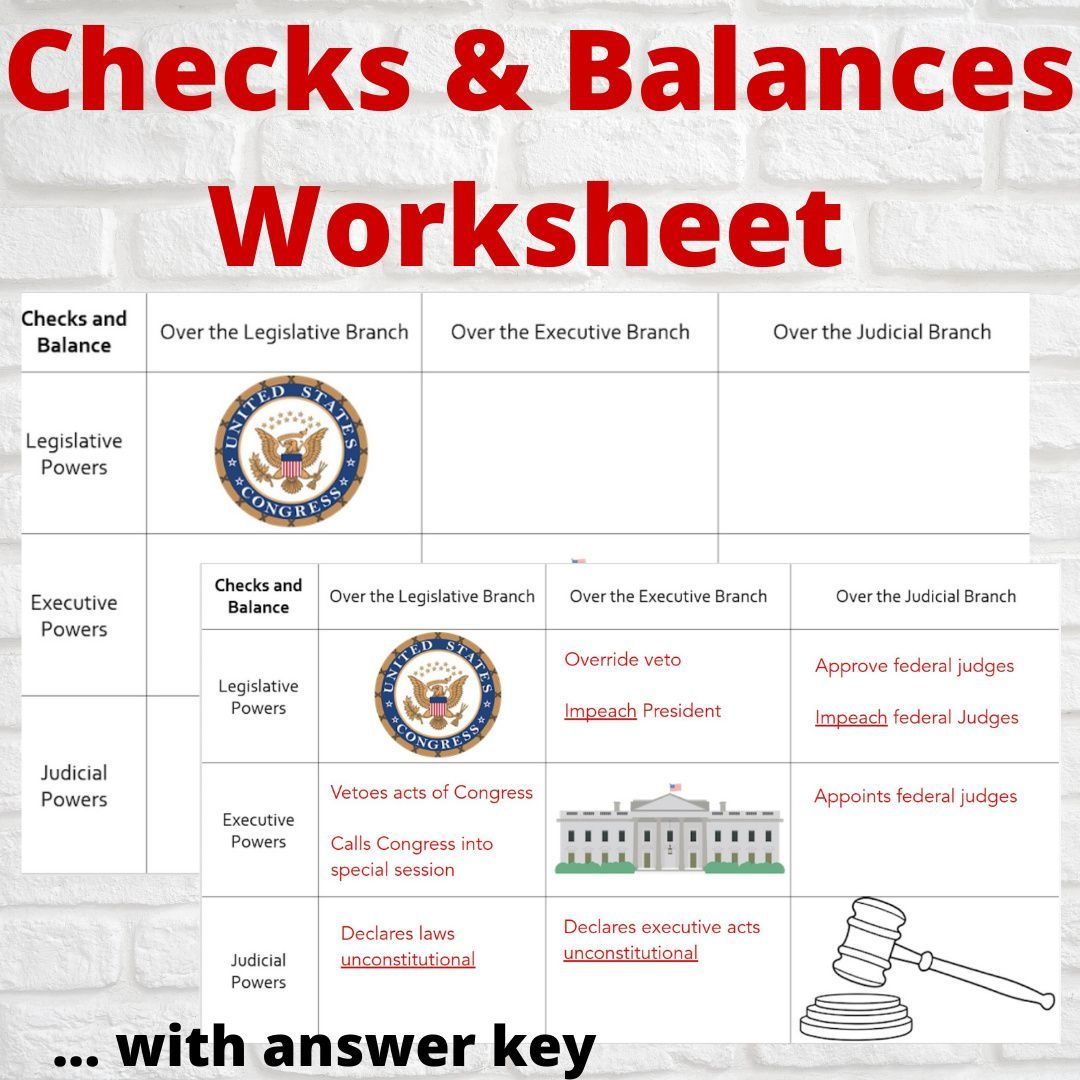 Checks And Balances Worksheet With Answer Key Social Studies Middle School Check And Balance Teaching Constitution Checks and balances worksheet