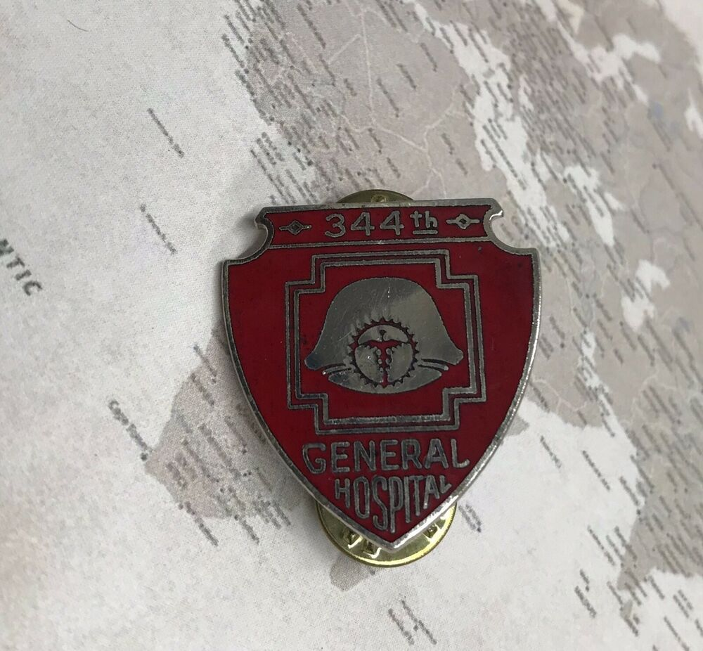Vintage 344th General Hospital Red Silver Shield Pin