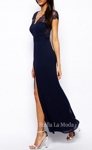 Instantly transform into a Grecian goddess in this flaunting showstopper. This maxi evening dress will give you a shape to show off, while the eyelash detail and chiffon overlay give it a high fashion edge. Featuring cap sleeves, v-neckline, sweetheart bust line, ankle length, floral lace cutout back with a side slit, and finished with a sexy curve hugging tight fit.Material : Polyester   Spandex