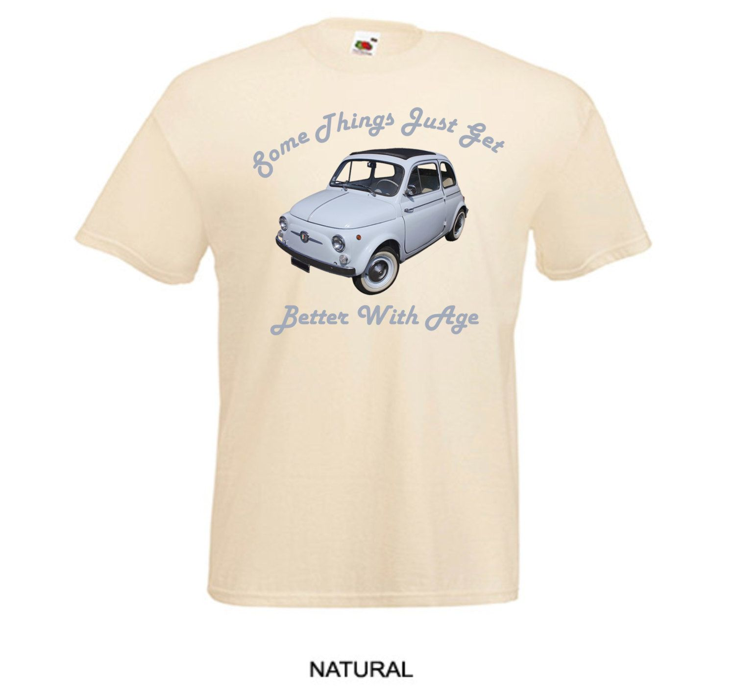Classic Fiat 500 Mini Vintage Car Better With Age Printed Natural ...