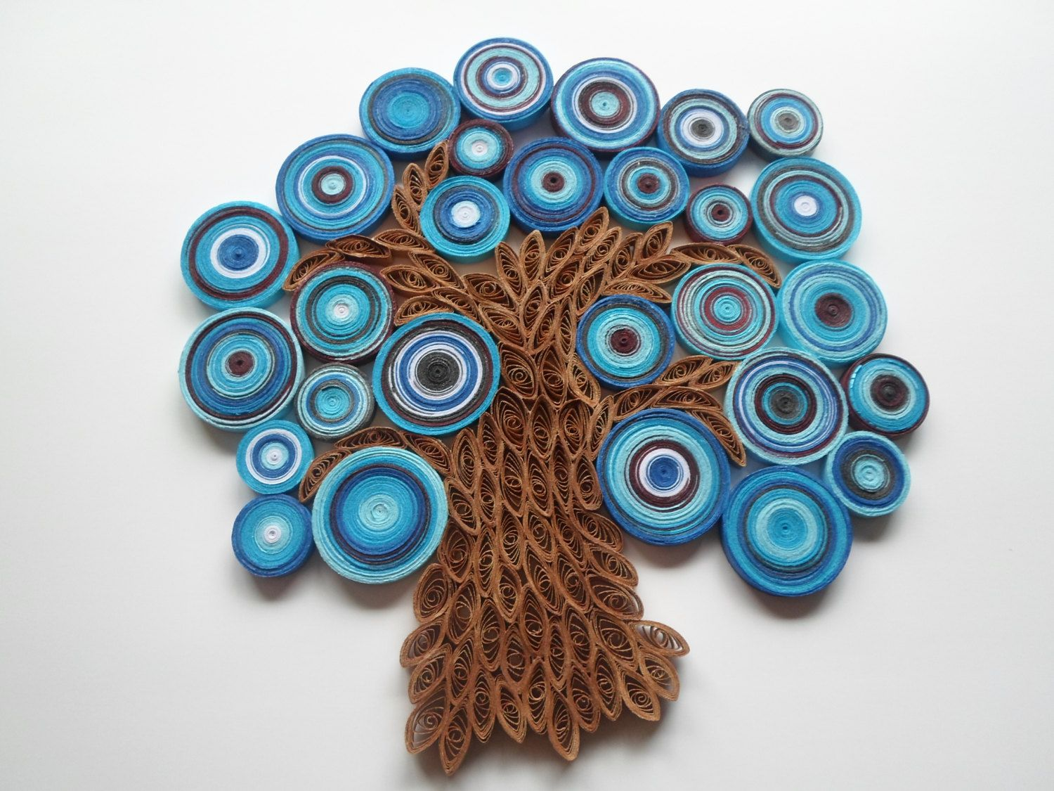 Blue tree wall hanging Abstract tree wall art Paper tree wall ...