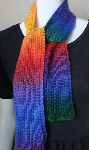 Mini Mochi Rainbow Scarf - 1 ball - free knit scarf pattern ...