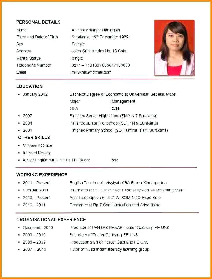 Sample Of Resume Format For Job Application Resume Format