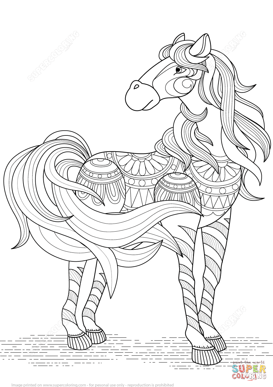 lovely horse zentangle