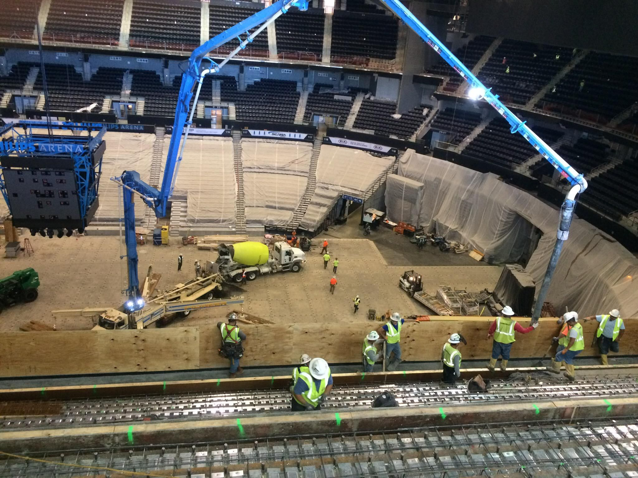 A while back pouring the new seating at the new State Farm