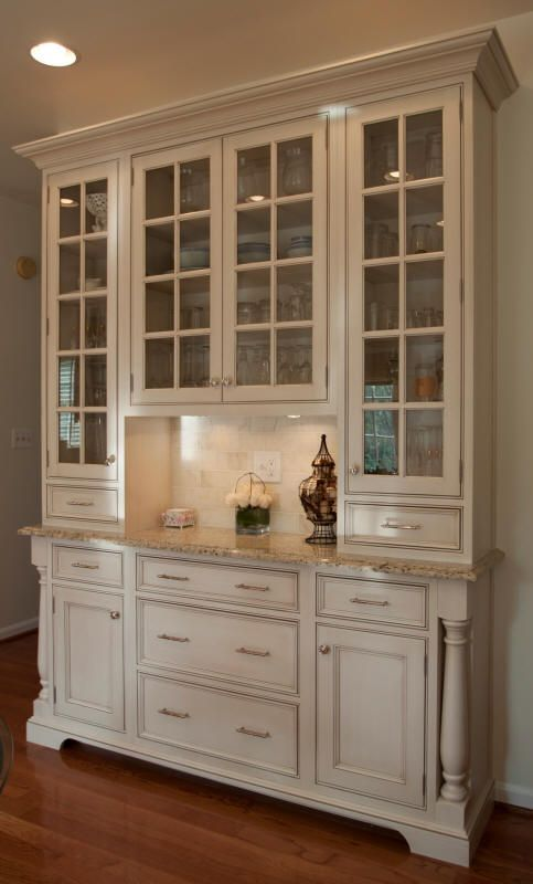 Superior Kitchen Hutch Buffet Storage Cabinet Skinny Counter With Glass Fronted  Cabinetry And Drawers