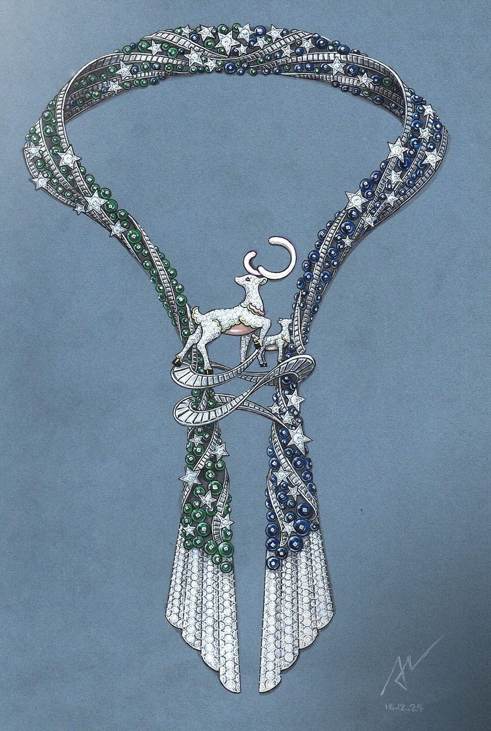 Azilaz necklace handdrawing handsketch jewelry designer