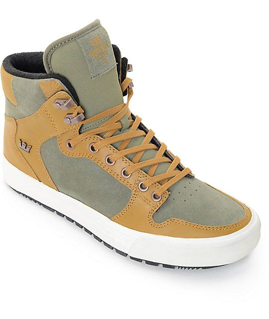 The Supra Vaider Cold Weather skate shoes in olive and tan have classic  styling combined with 5869fd4400df