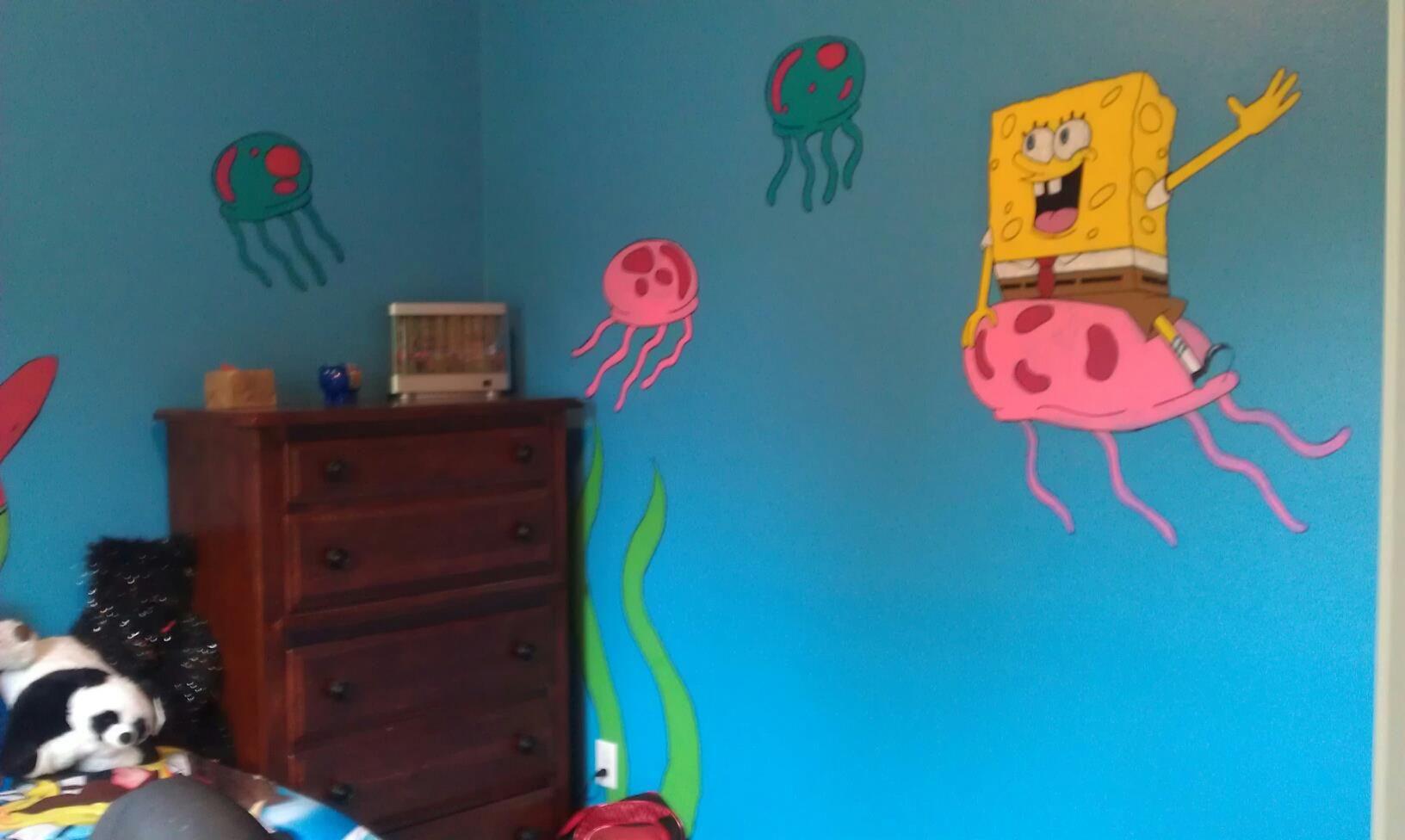 hand painted kids room, spongebob  Kids  Pinterest