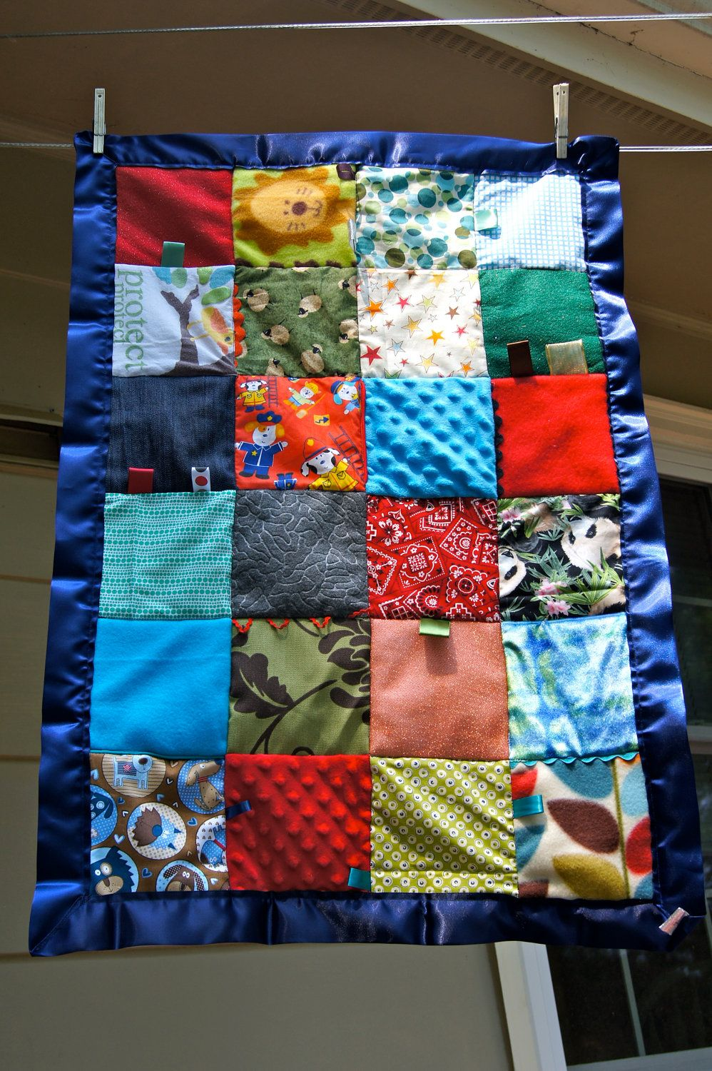 Child S Sensory Quilt With Navy Blue Binding By