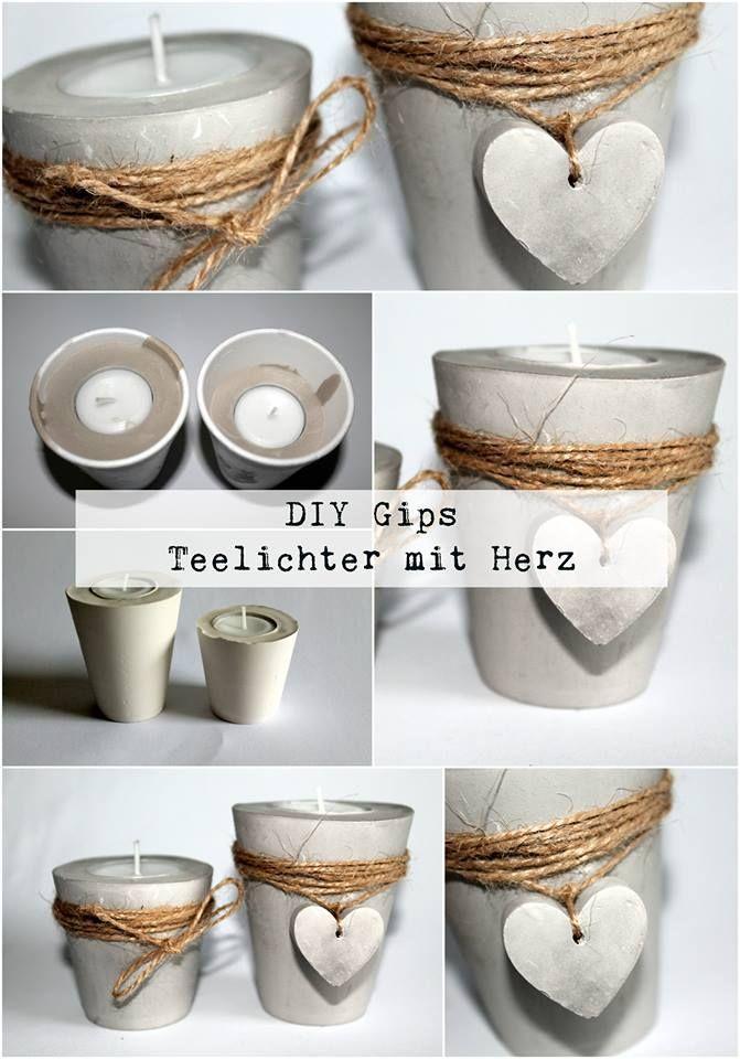 DIY Gips / Beton Teelichthalter mit einem Herz einfach selber machen