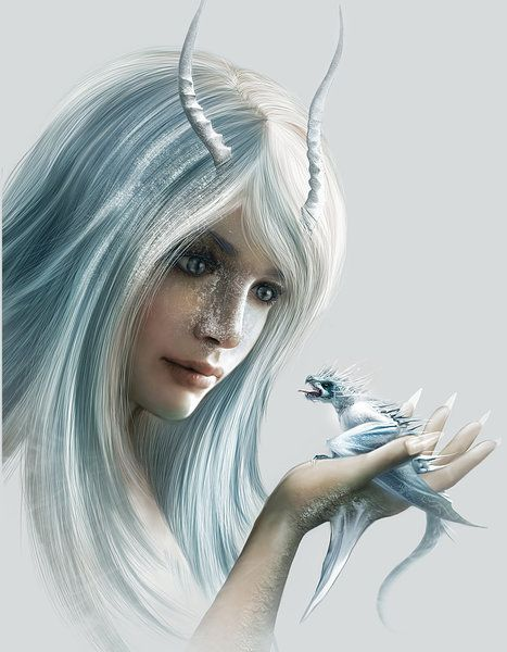 Dragon Girl By Nell Fallcard Dragon White On