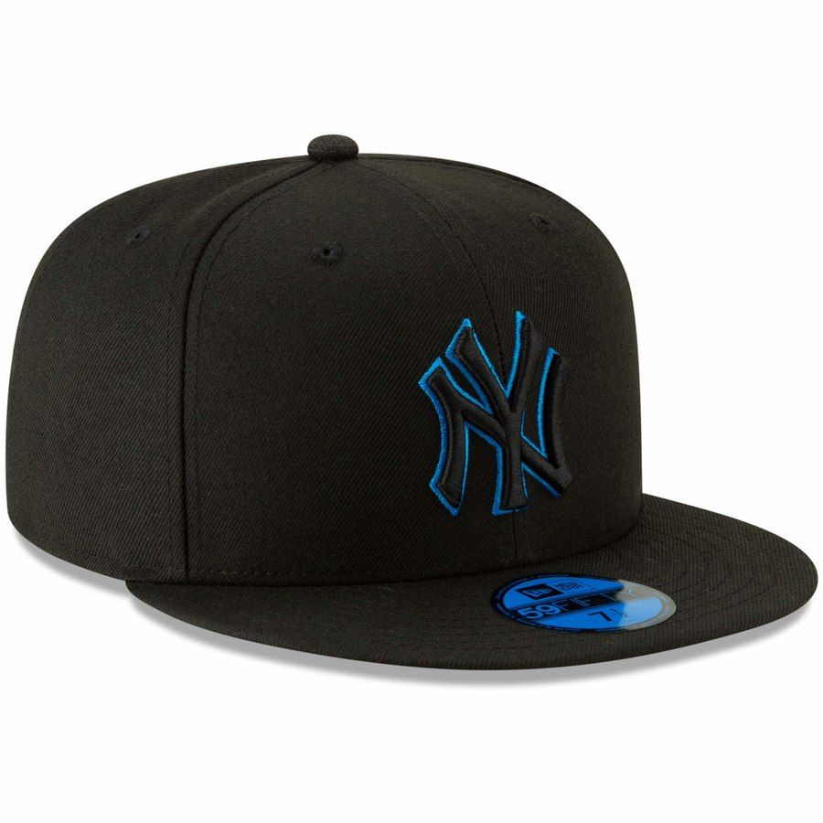 Mens new york yankees new era black blue outline neon pop