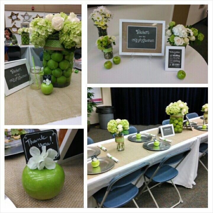 Apple themed teacher appreciation luncheon decor