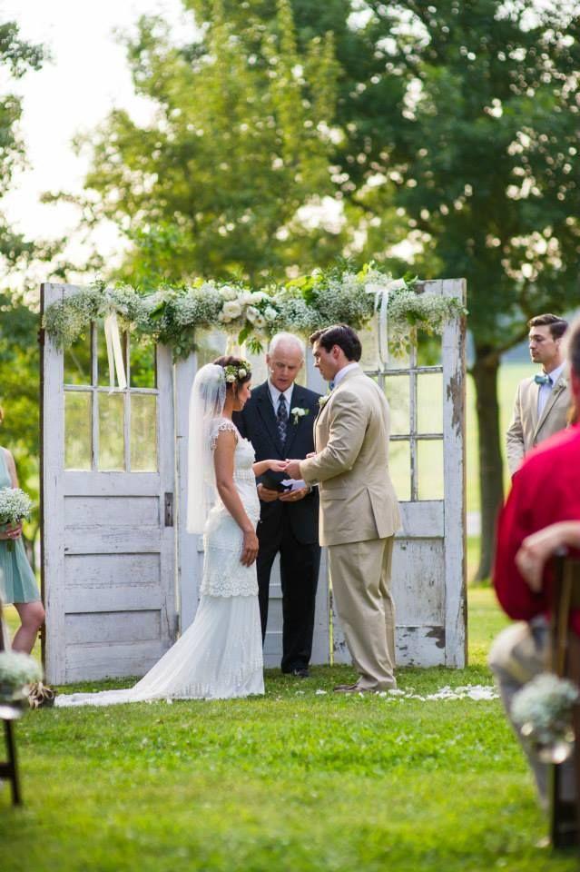 Outdoor Wedding Ceremony With Old White Doors M Elizabeth Events