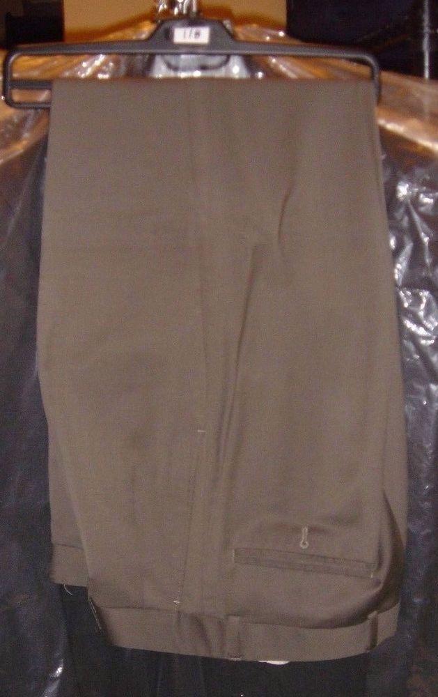 Paul Fredrick Gray Olive Green Wool Dress Trousers Cuffed Pants Size 33/30 Italy #PaulFredrick #DressTrousers