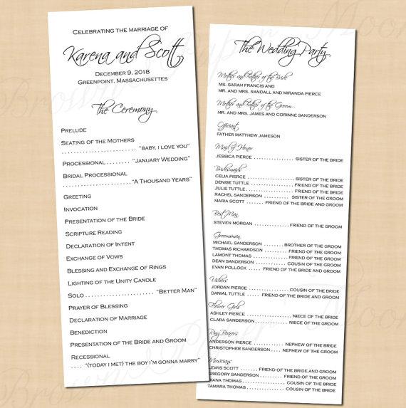 Classic White Wedding Programs 4 25x11 Text Editable Printable Instant Download Wedding Programs Affordable Wedding Invitations Wedding Dinner Music