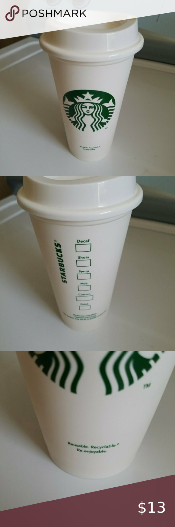 Starbucks Reusable Coffee Cup White Grande in 2020