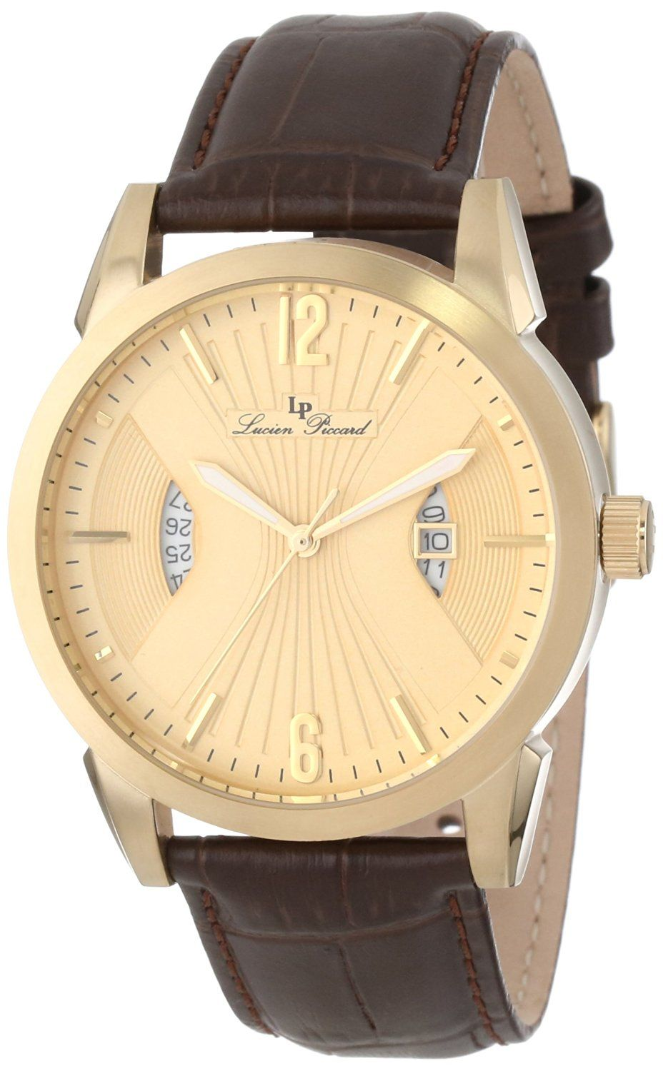 Lucien Piccard Men's LP-11561-YG-010 Watzmann Gold Dial Brown Leather Watch *** Click image to review more details.