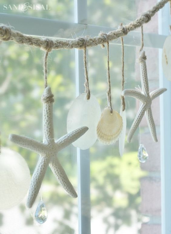 Sea Chimes - Shell Wind Chime tutorial. Starfish and Capiz Shell Garland