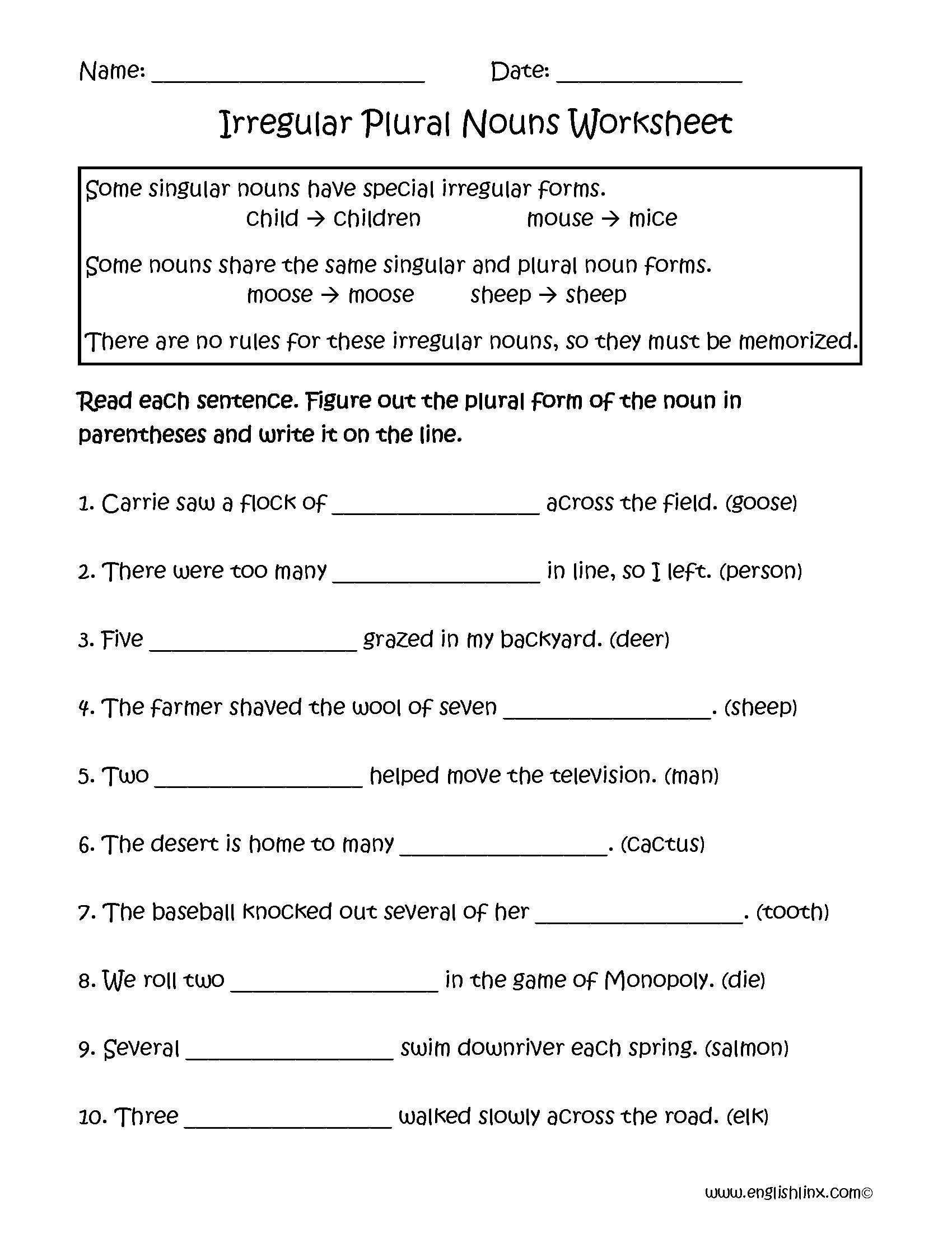 Irregular Plural Nouns Worksheets   Nouns worksheet [ 2200 x 1700 Pixel ]