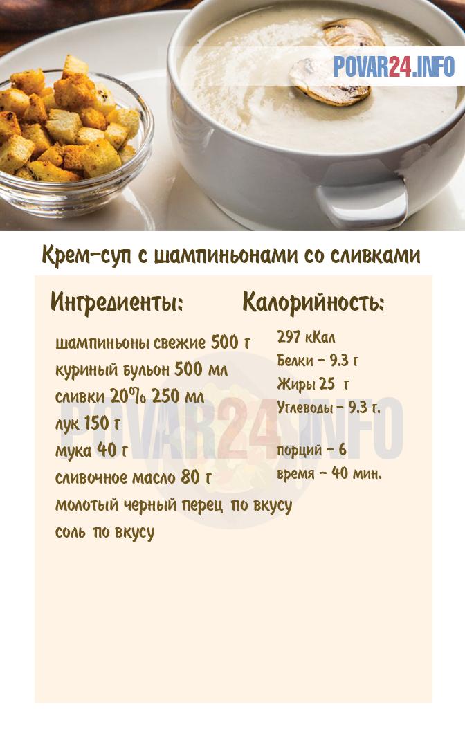 куриный крем суп с грибами