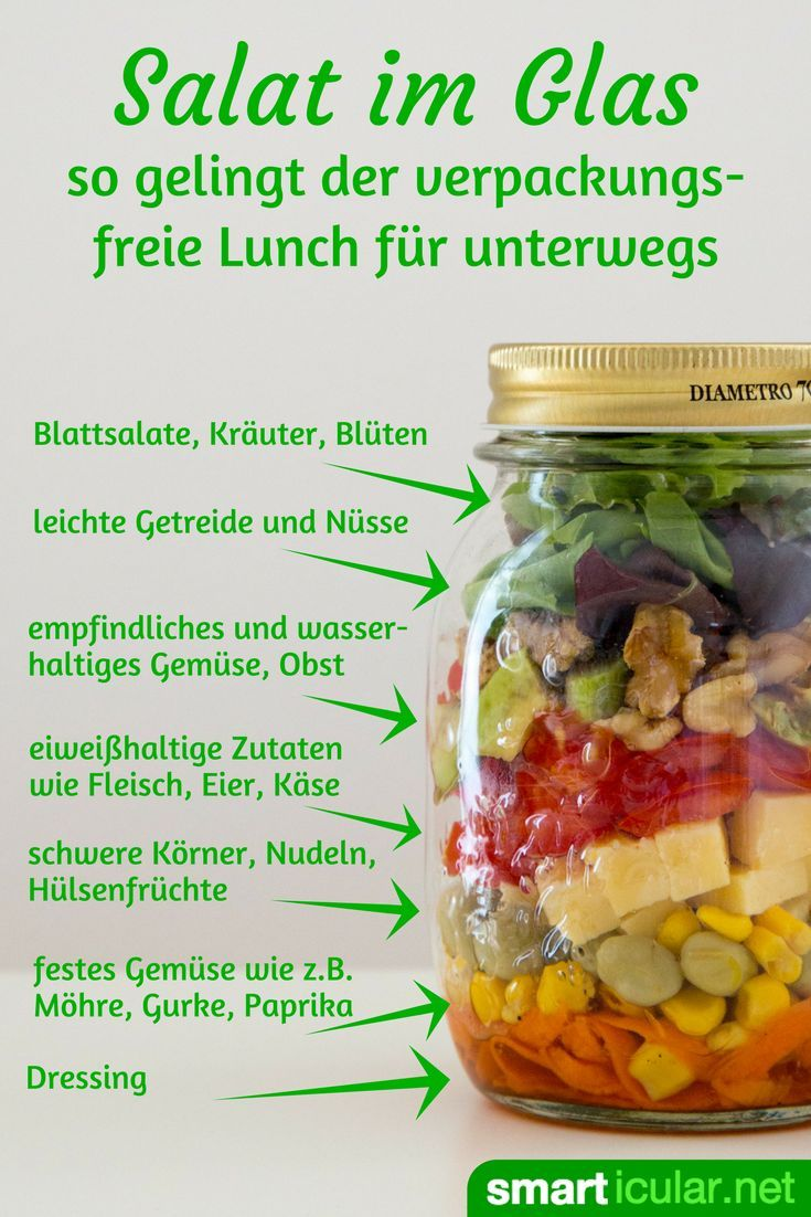 Salat im Glas - so gelingt die verpackungsfreie Lunch-Alternative #gesundesessen