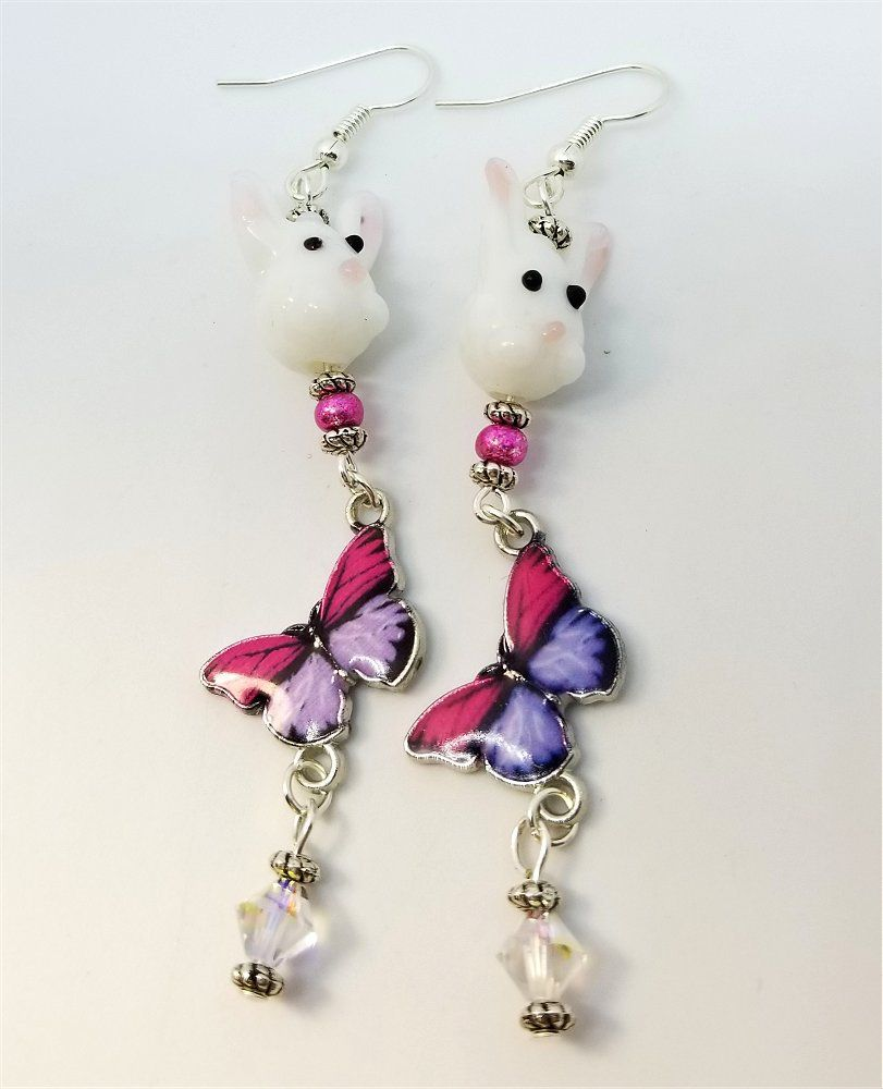 55ad7f28a Bunny and Butterfly Earrings with Swarovski Crystal Dangles by JennisTrends  on Etsy