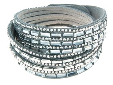 Modeschmuck Online Shop - Le Bijou Velourslederarmband mit Kristallen black diamond LEBIA135