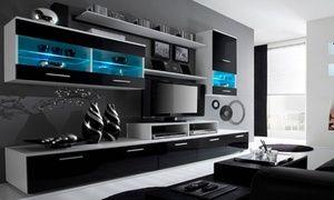 Groupon - Parete soggiorno con luci LED disponibile in 4 modelli ...