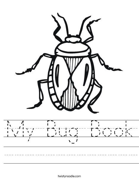 Cute print outs for kids: My Bug Book Worksheet - Twisty Noodle ...