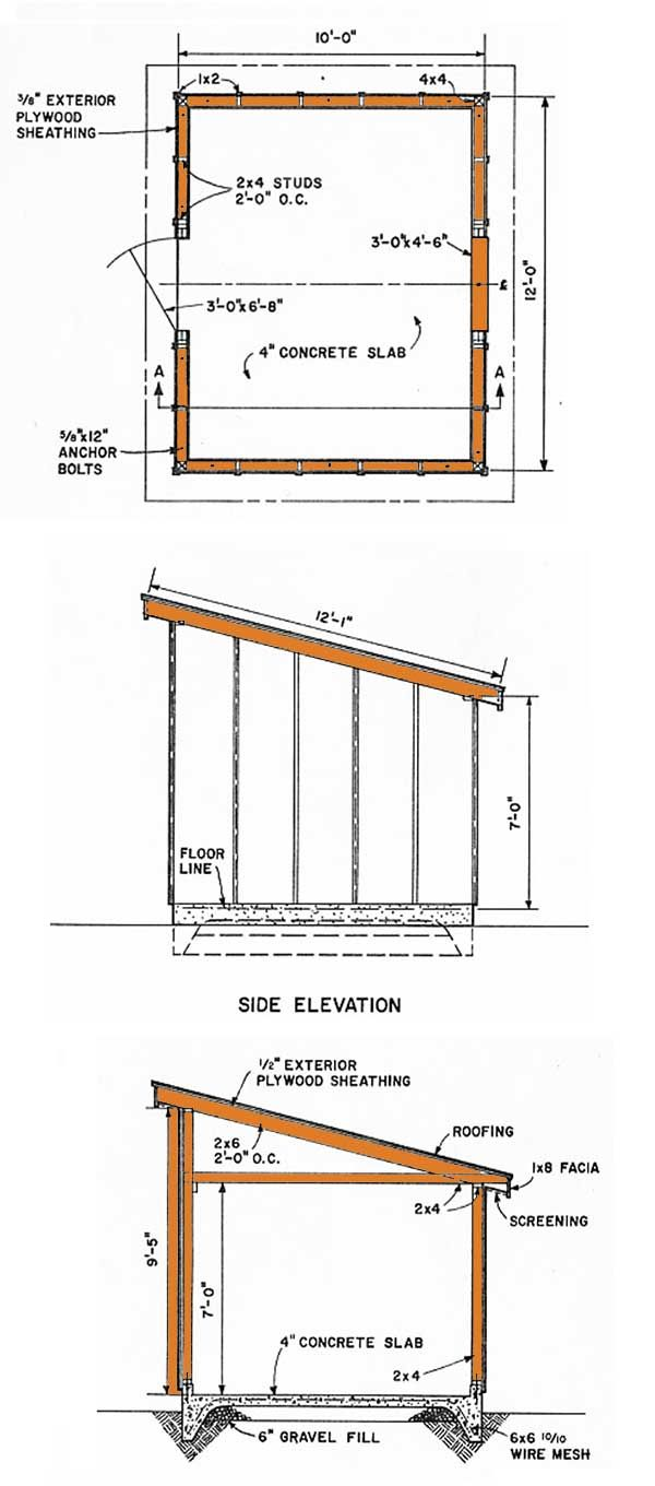 10x12 lean to storage shed plans